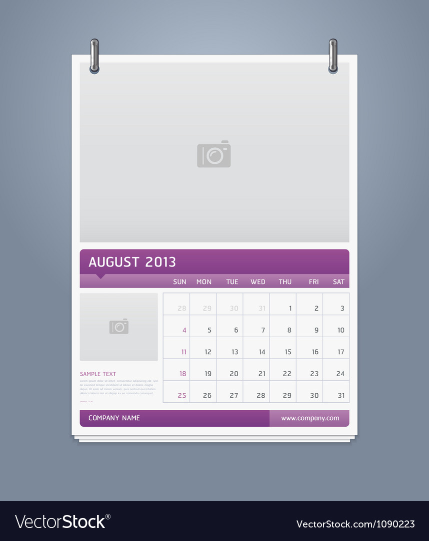 Clean calendar 2013 template design
