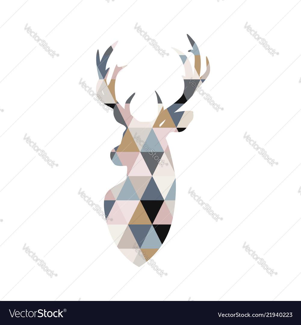 Deer in patchwork style scandinavian poster