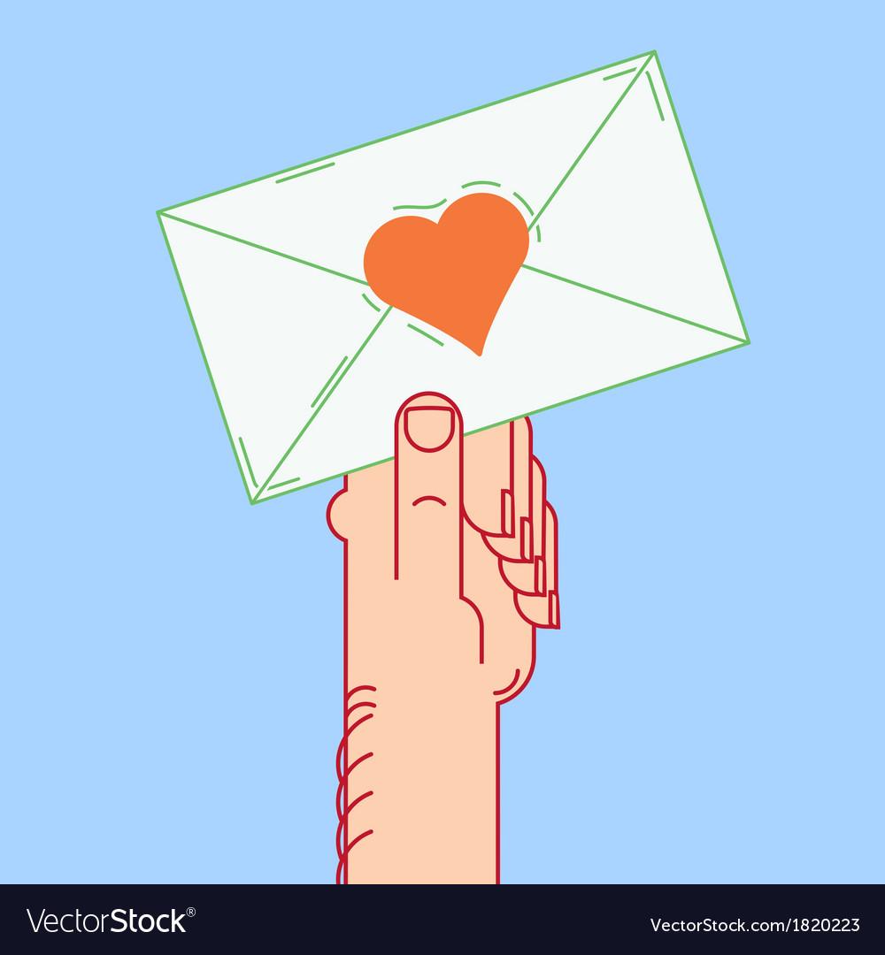 Envelope in hand valentines vector image