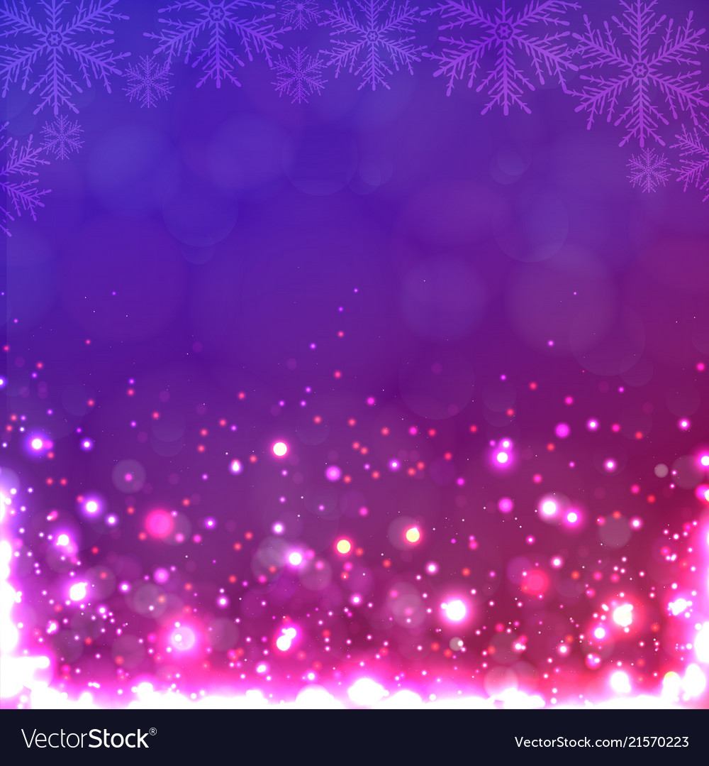 Lights on purple background with snowflakes