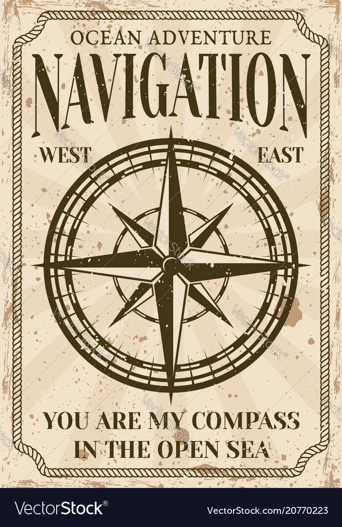 Nautical poster in vintage style with compass vector image