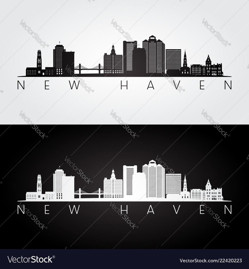 New haven usa skyline and landmarks silhouette