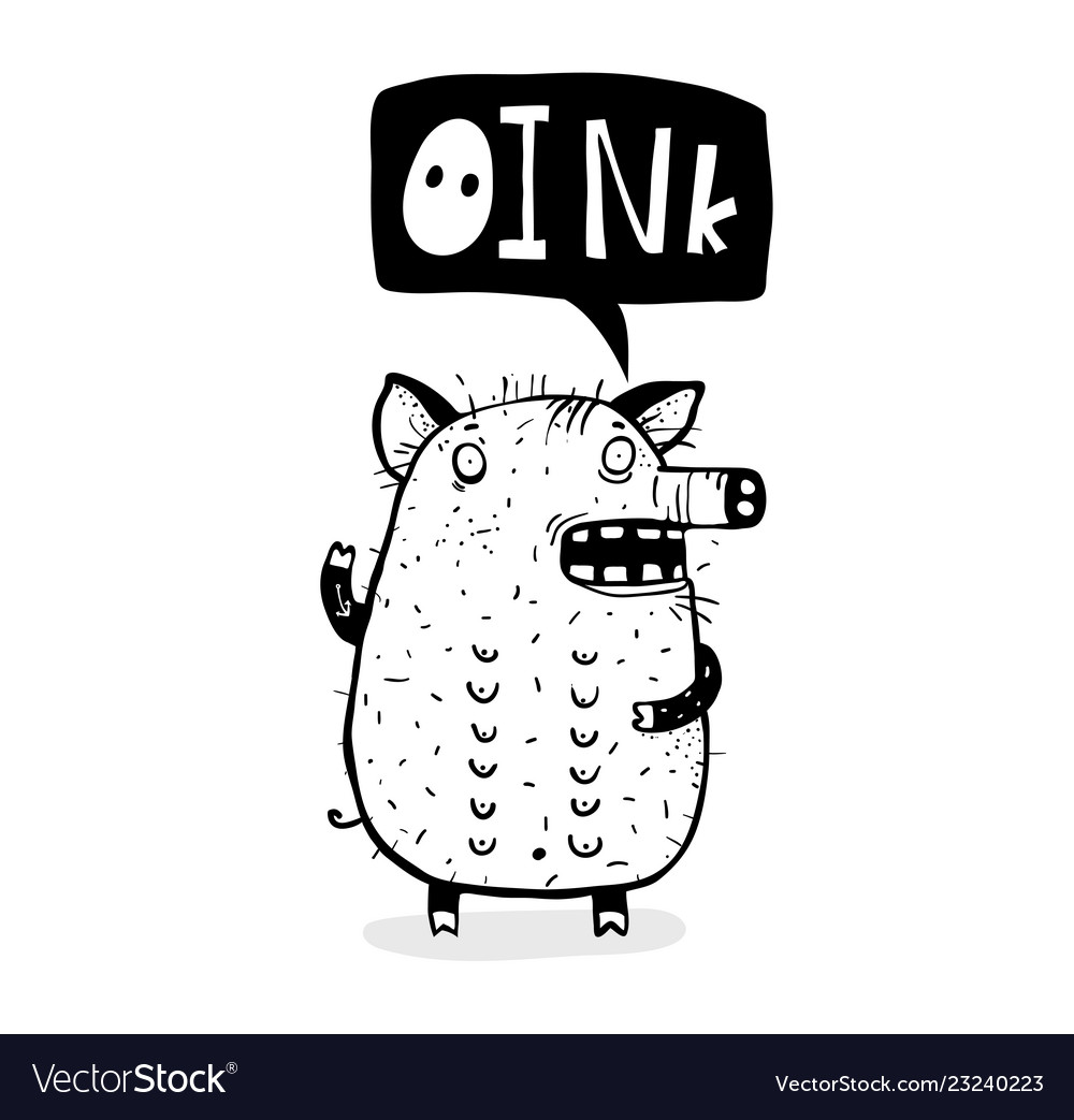Oink saying funny pig cartoon