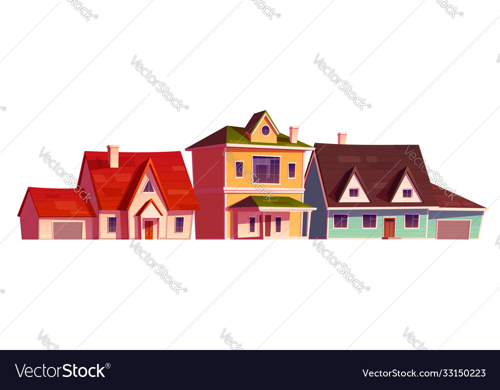 Residential houses exterior in suburb district