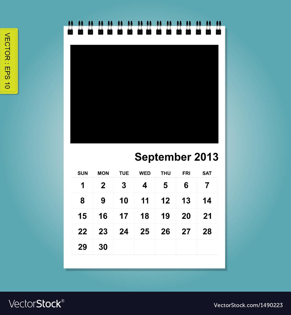 September 2013 calendar vector image