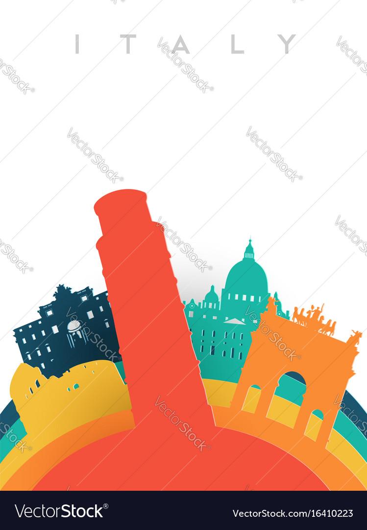 Travel italy 3d paper cut world landmarks