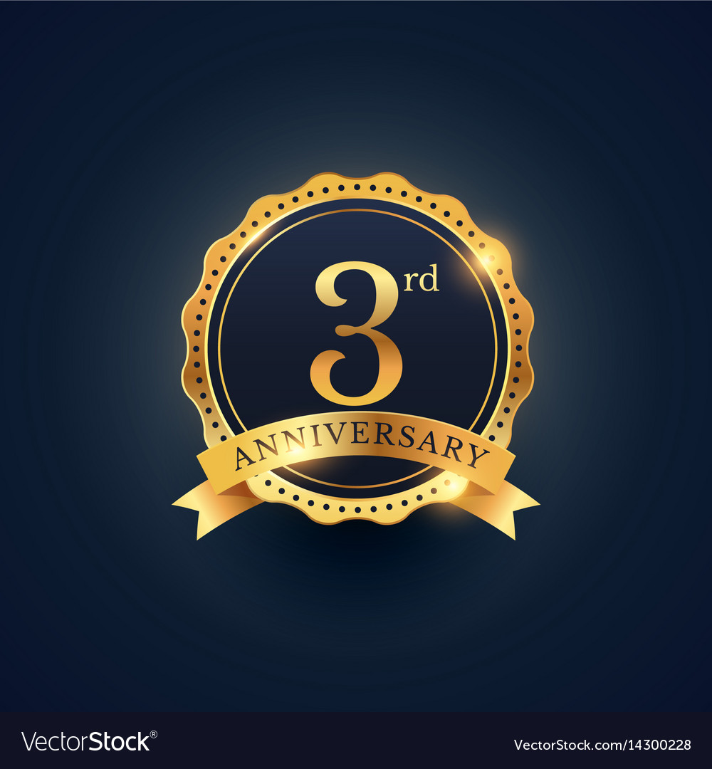 3rd anniversary celebration badge label in golden