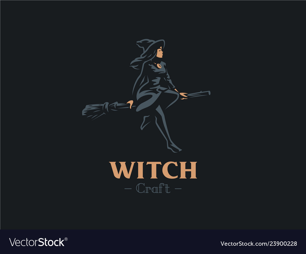 A woman witch flies on a broomstick