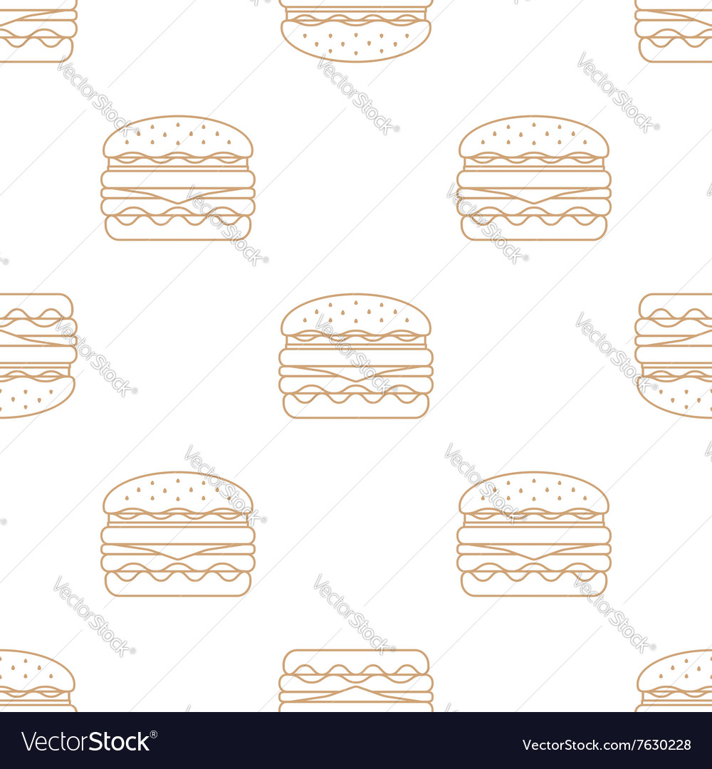 Double hamburger outline seamless pattern