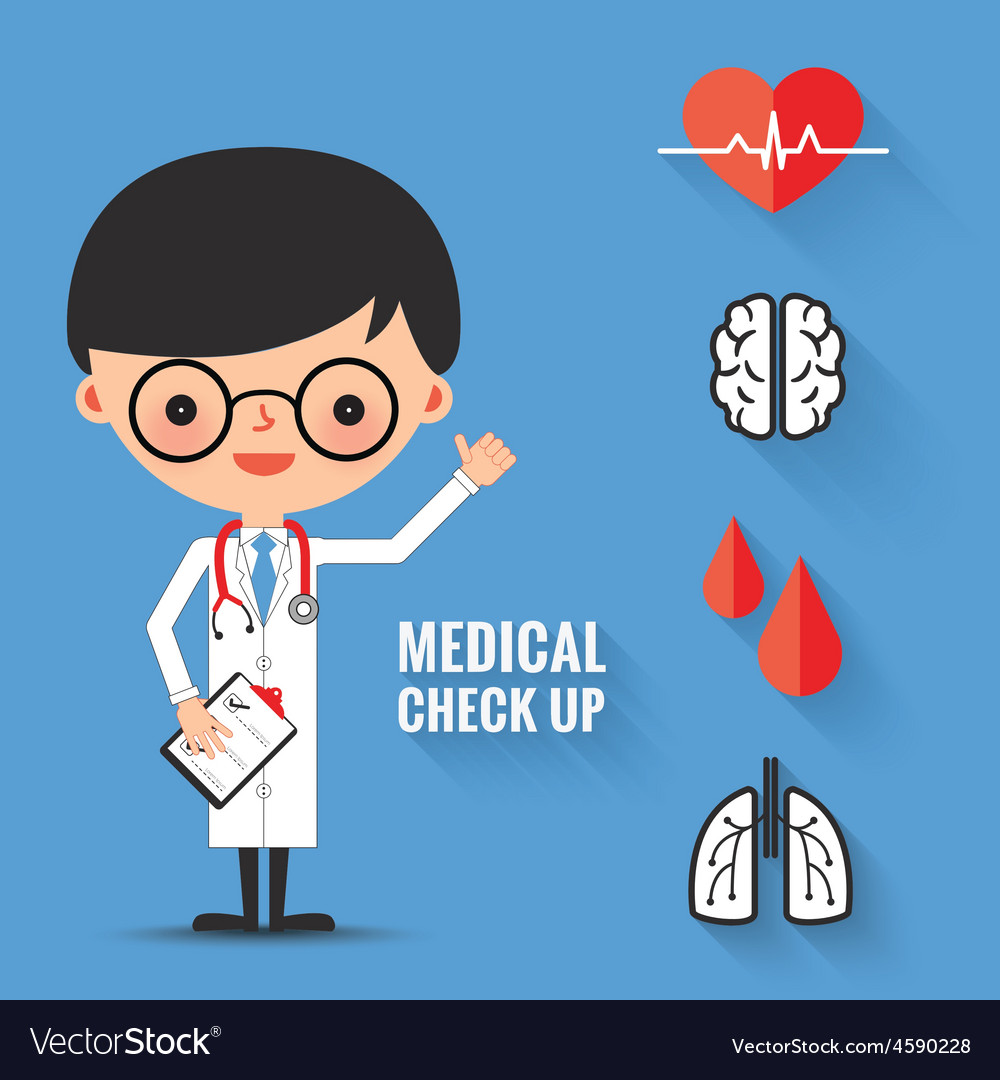 Medical check up with man doctor characters vector image
