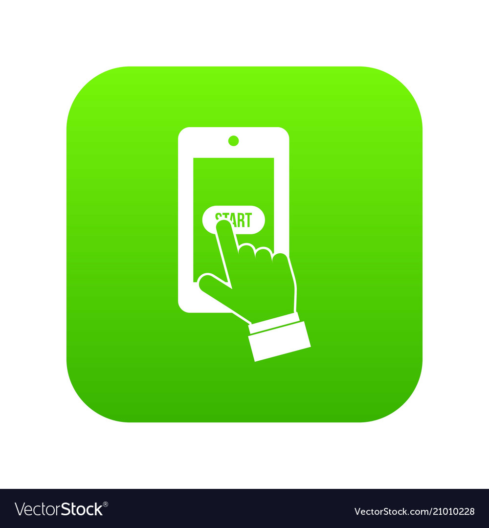 Playing games on smartphone icon digital green