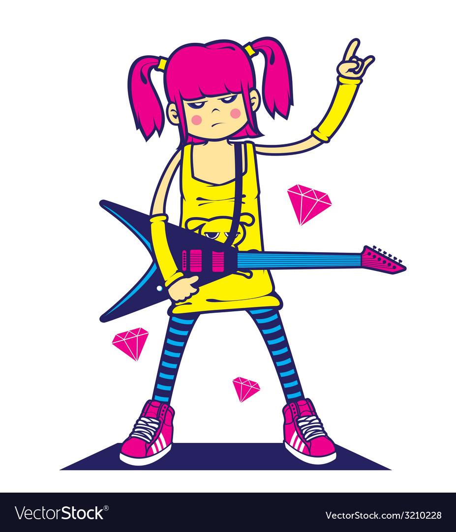 rockstar girl royalty free vector image vectorstock