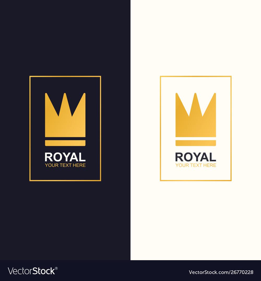 Royal crown logotype gold style