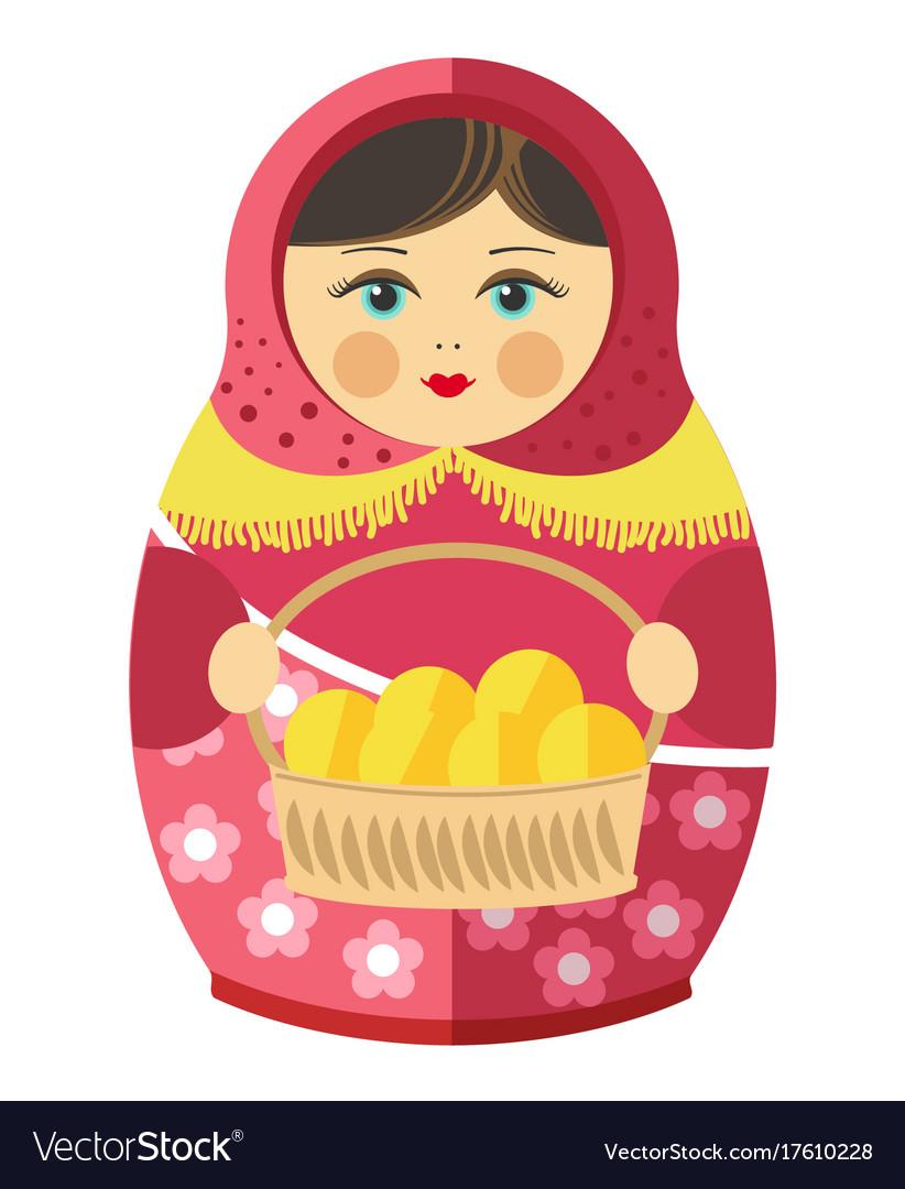 Russian matrishka in kerchief with patties in