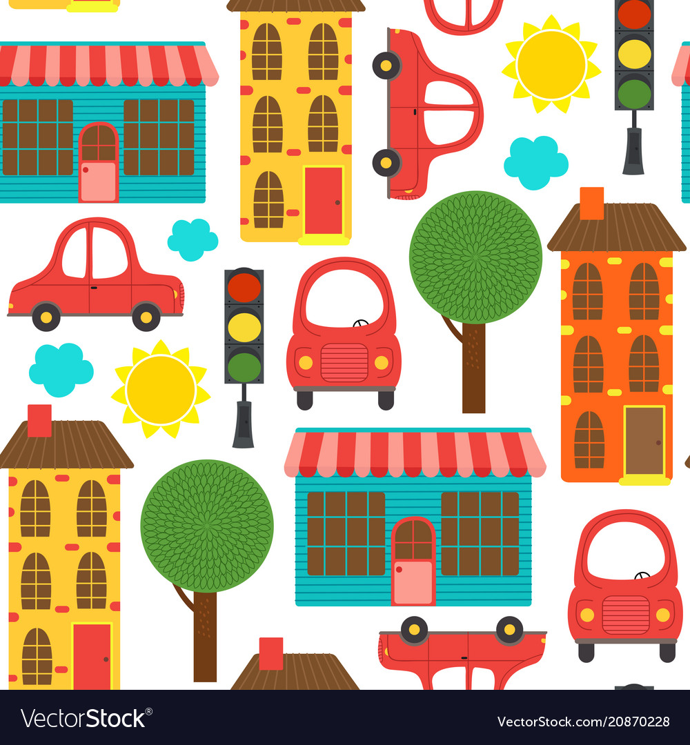 Seamless pattern with houses and cars vector image