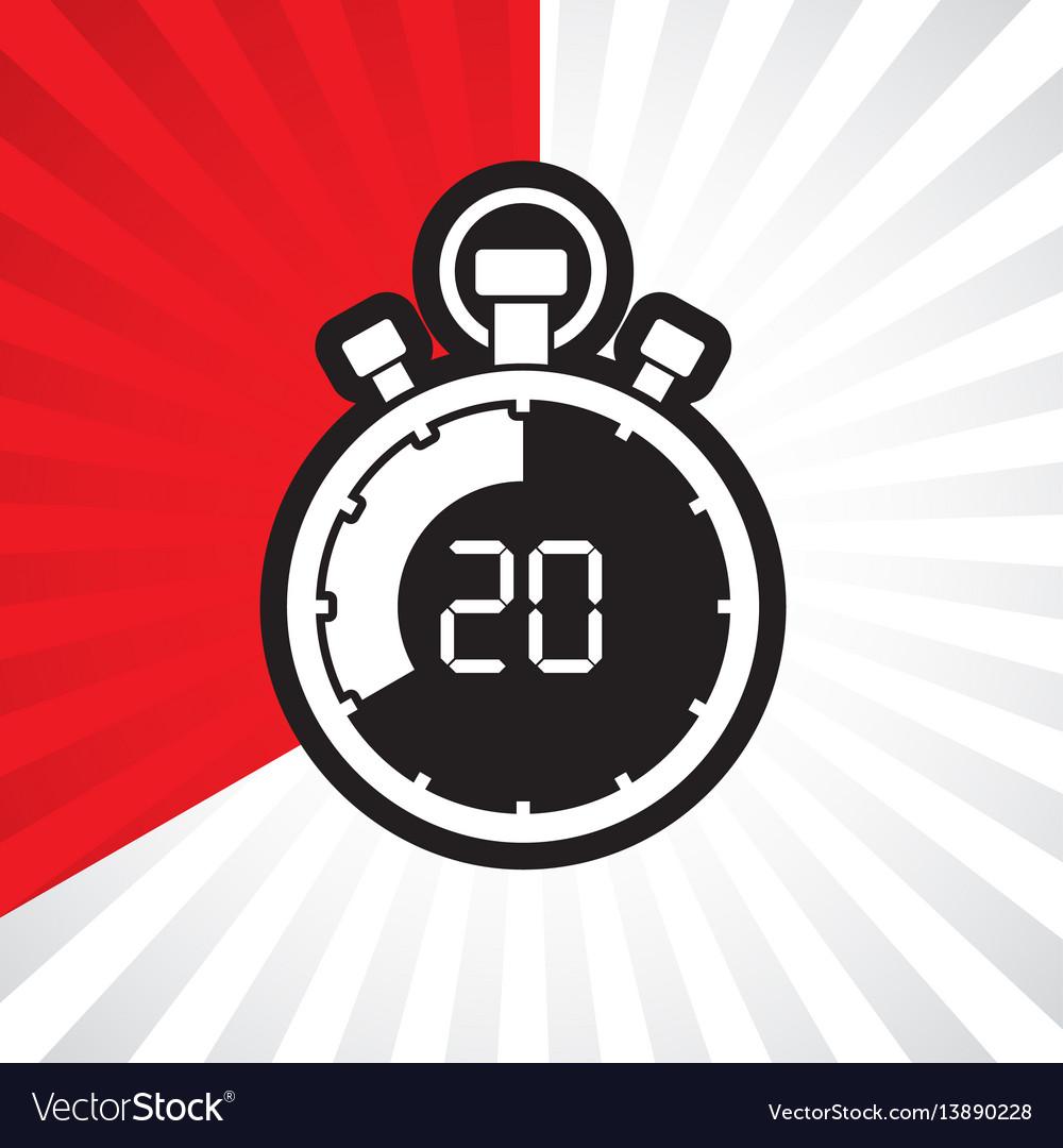 stopwatch twenty minute royalty free vector image