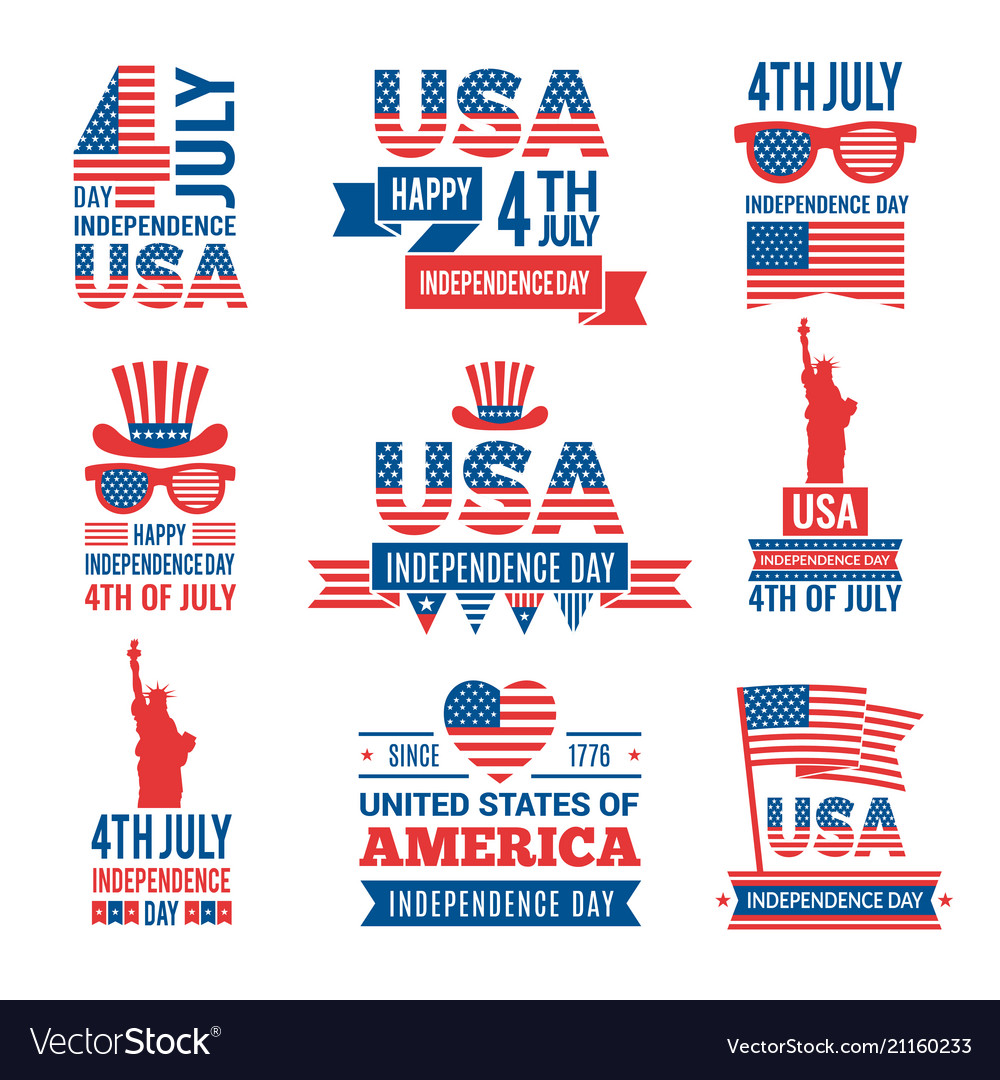 Banners of america independence day labels