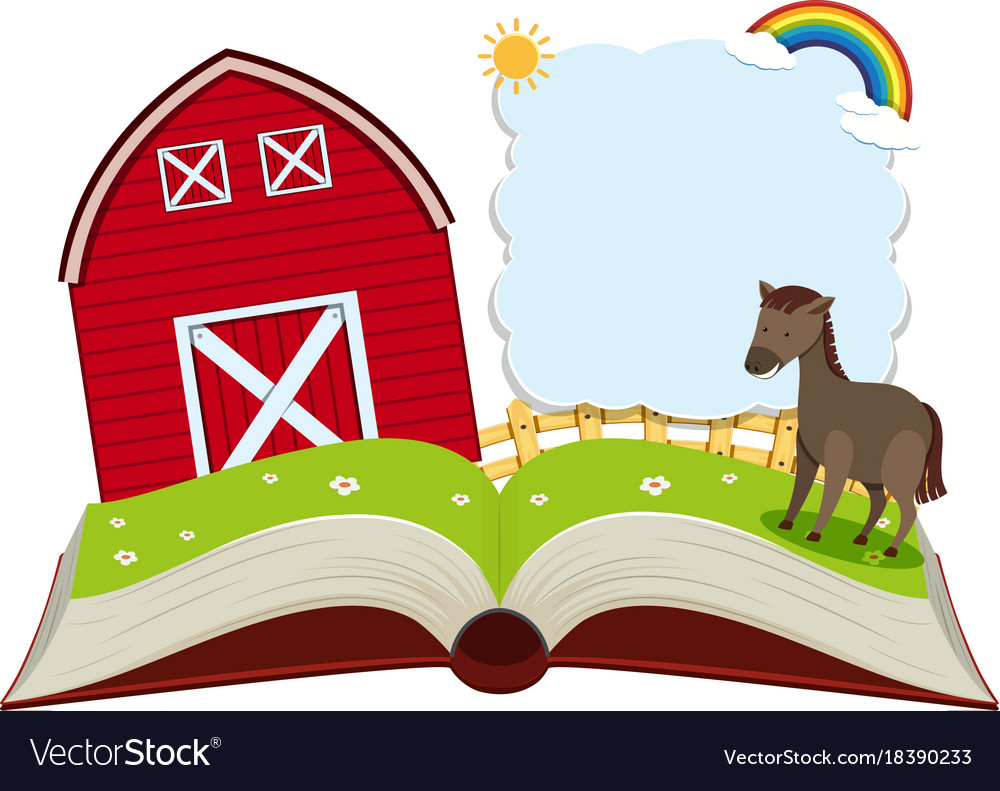 Border template with donkey in the farm Royalty Free Vector