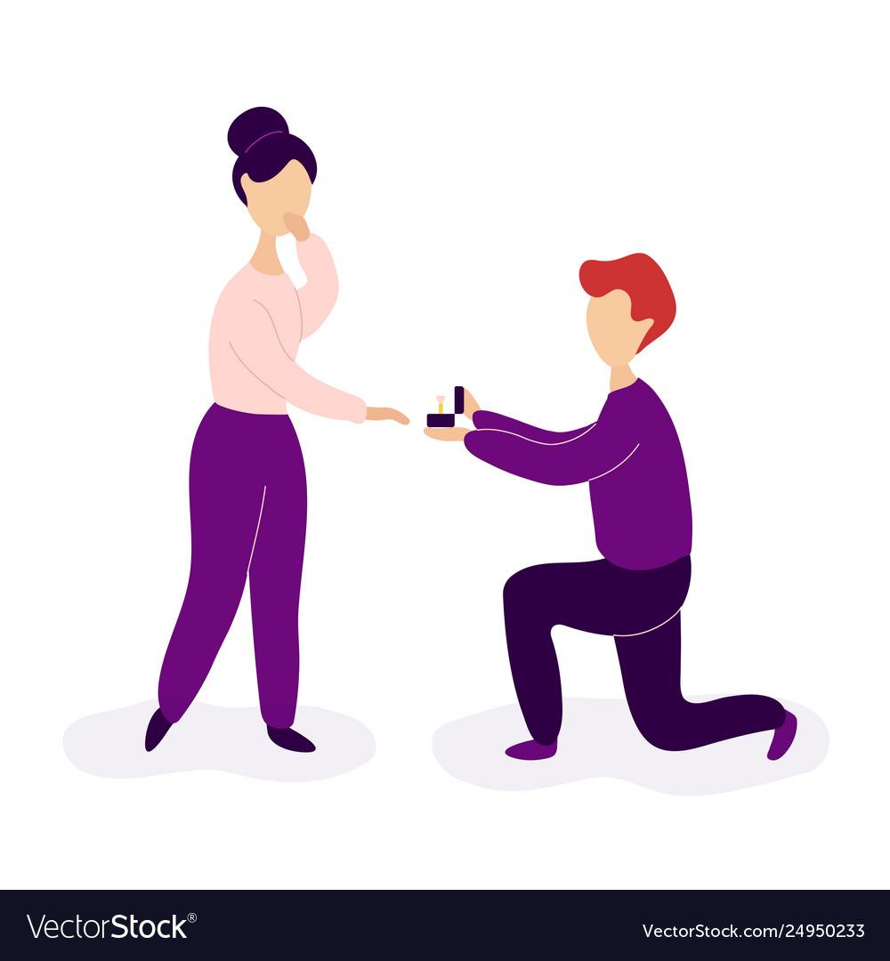 Boyfriend making marriage proposal to girlfriend
