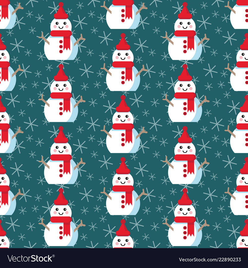 Cute christmas pattern with snowman