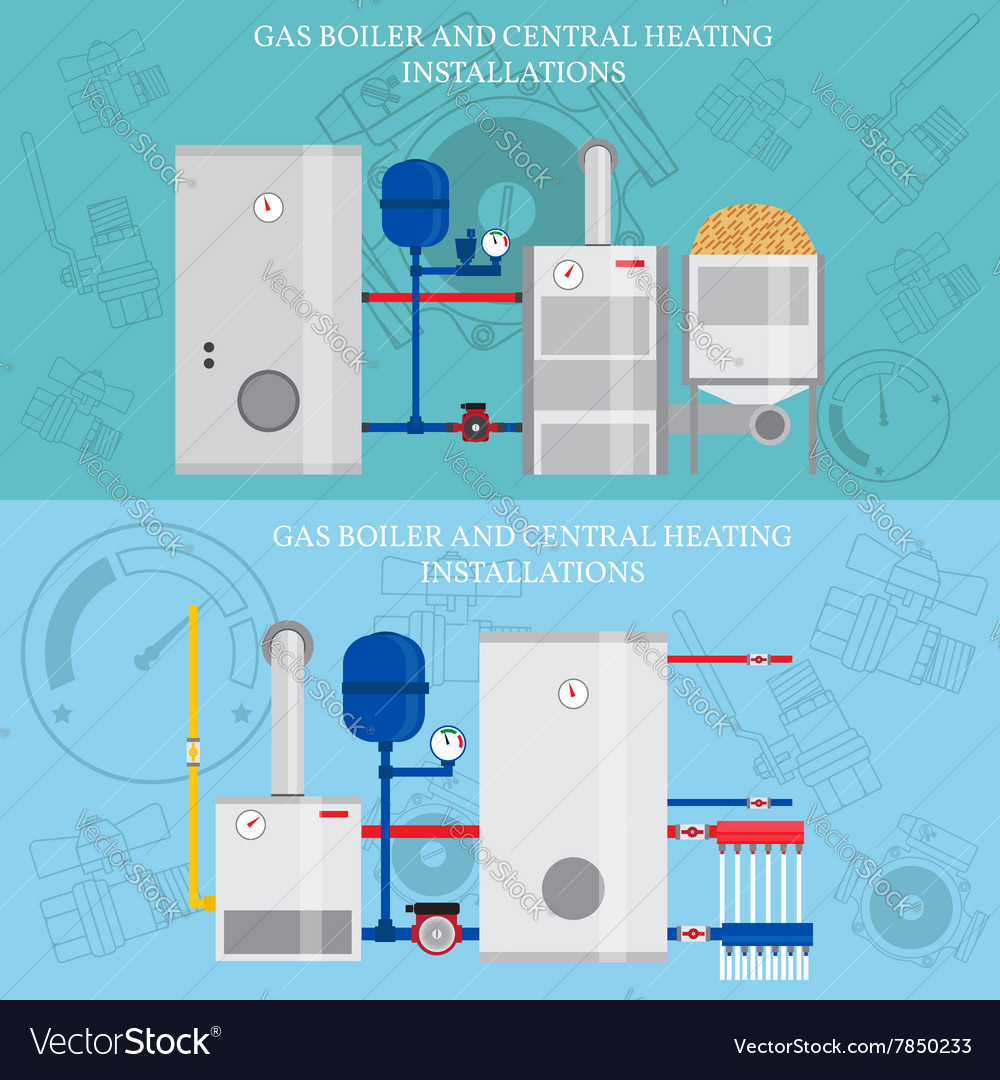 Gas boiler and central heating installations flat Vector Image