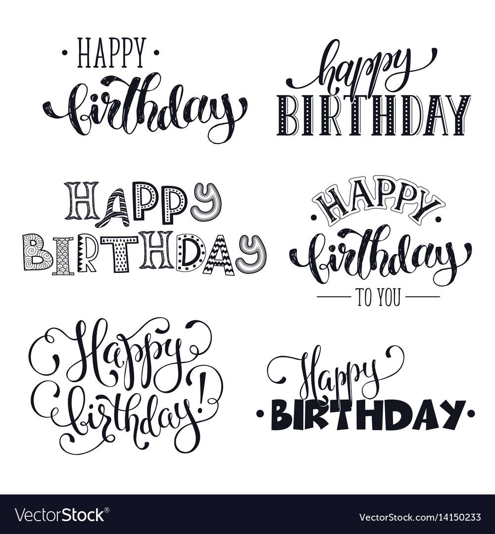 Hand Written Happy Birthday Phrases Royalty Free Vector