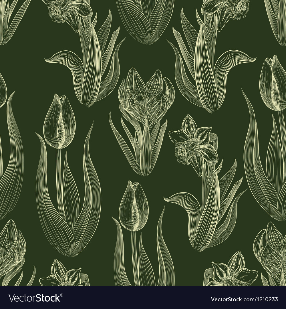 Hand-written seamless pattern with spring flowers