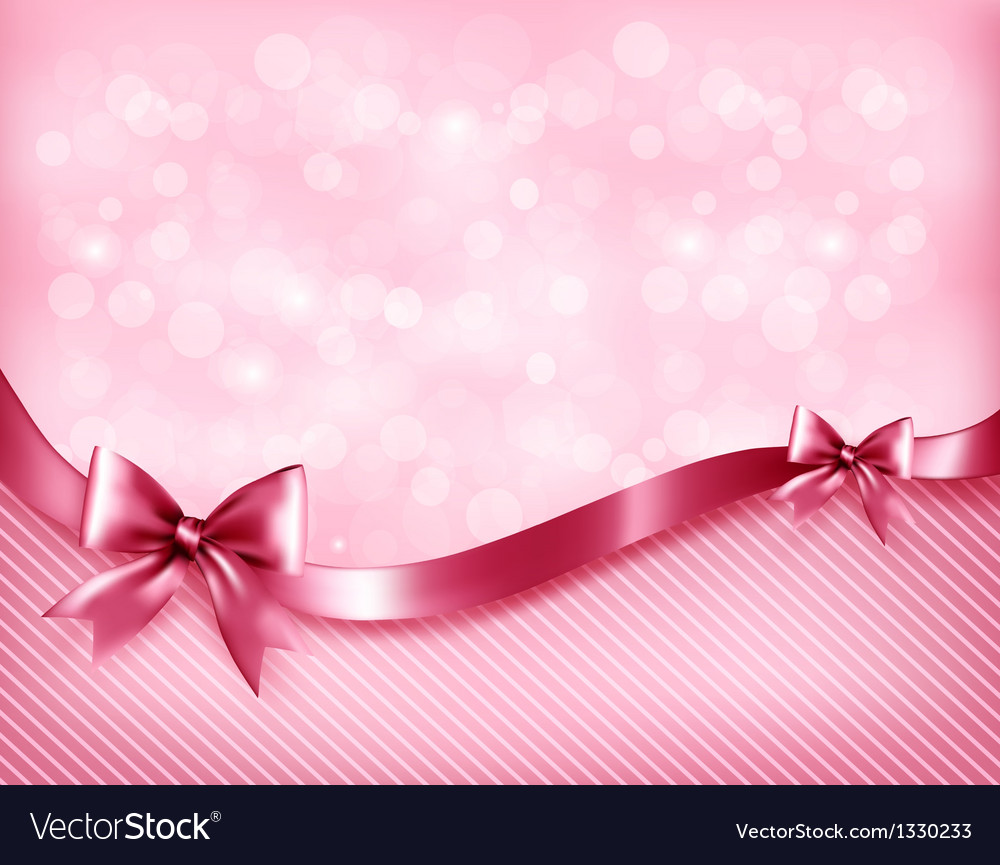 Christmas Gift Background: Holiday Pink Background With Gift Glossy Bows And Vector Image