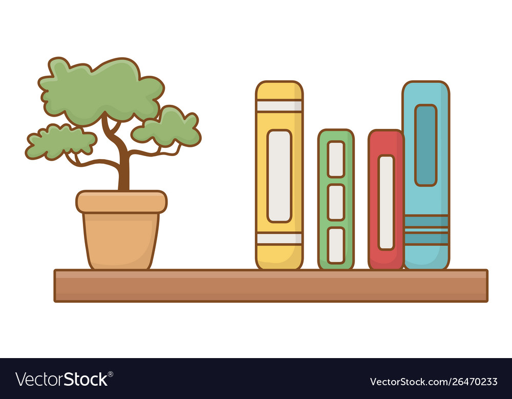 Isolated shelf with books design