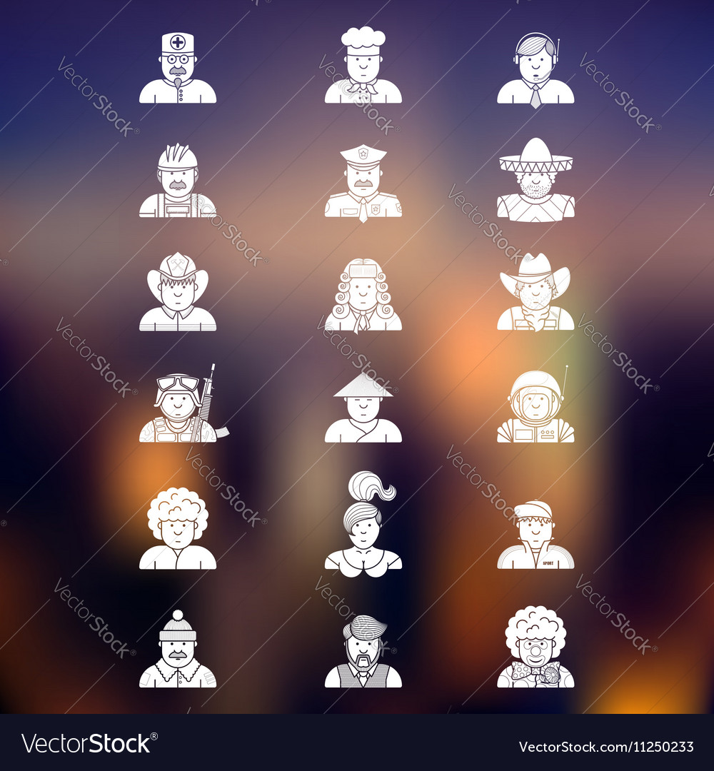 Large set of contour avatars of different