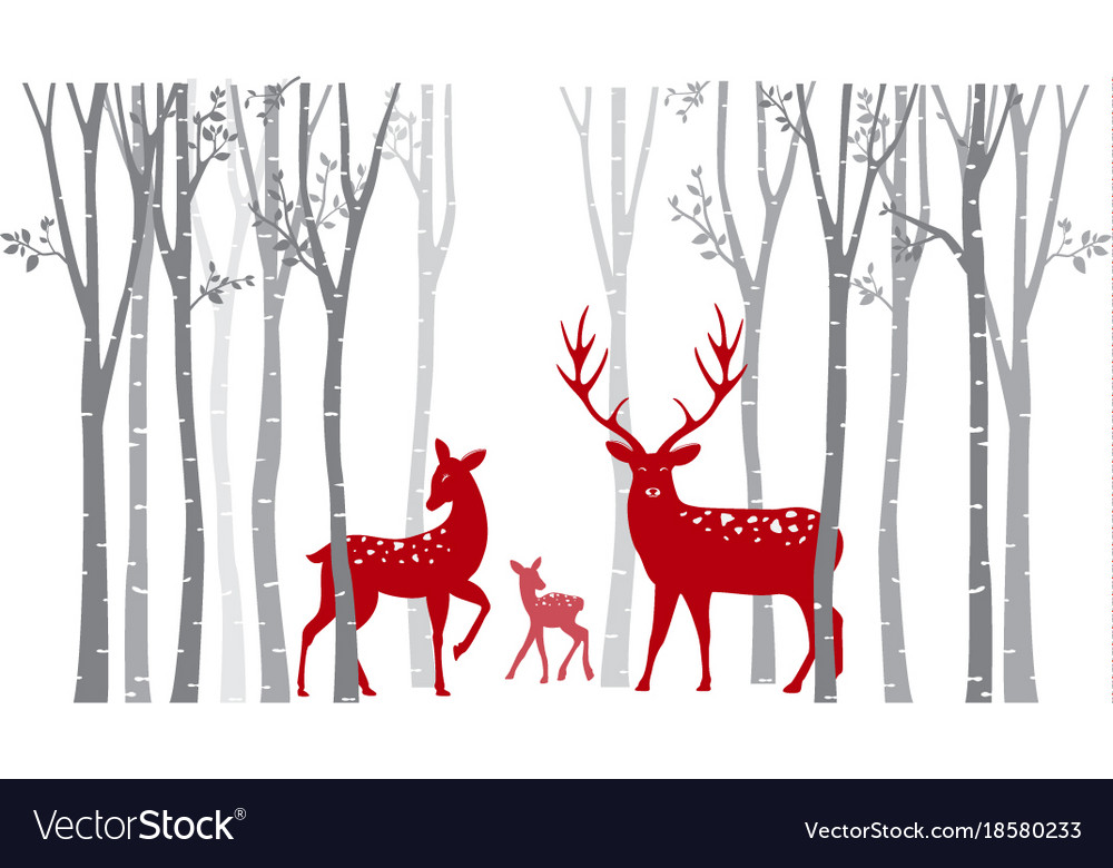 Red christmas deer with birch tree vector image