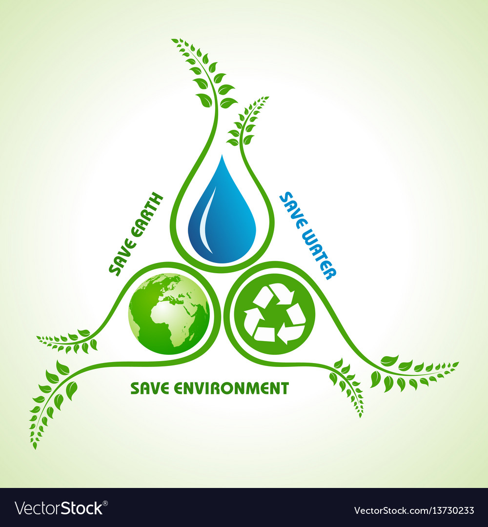 Save Earthwater And Environment Concept Royalty Free Vector