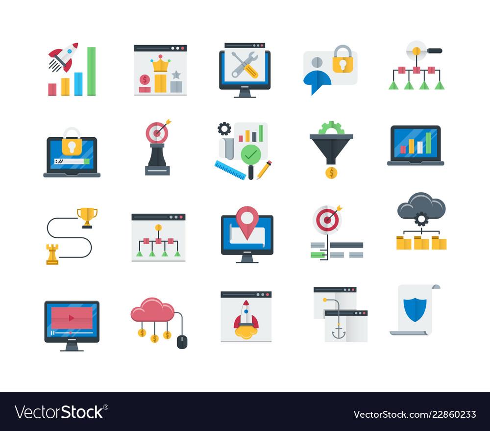 Seo and web optimization icons set