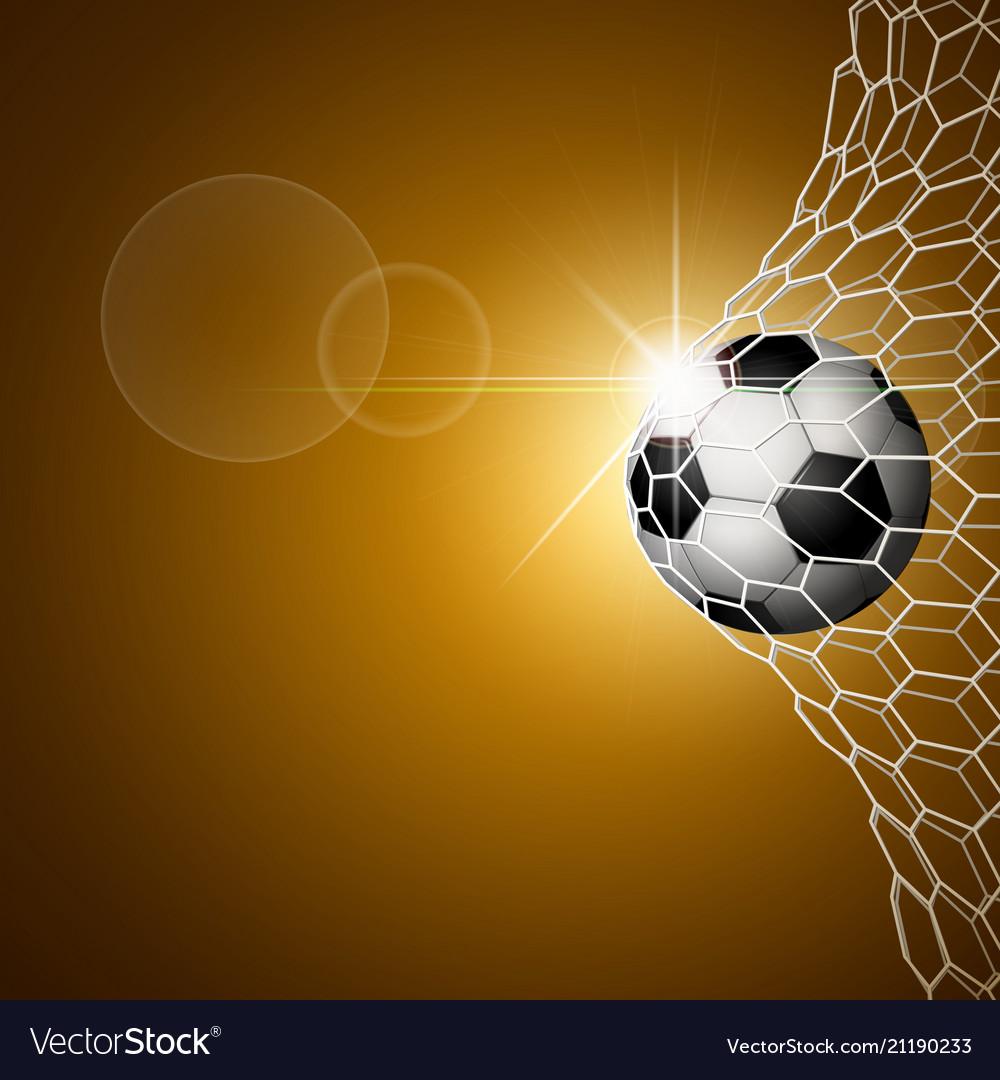 Soccer ball in goal gold