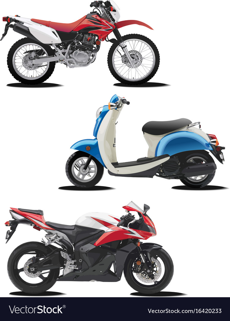 Three of motorcycle help for designers vector image