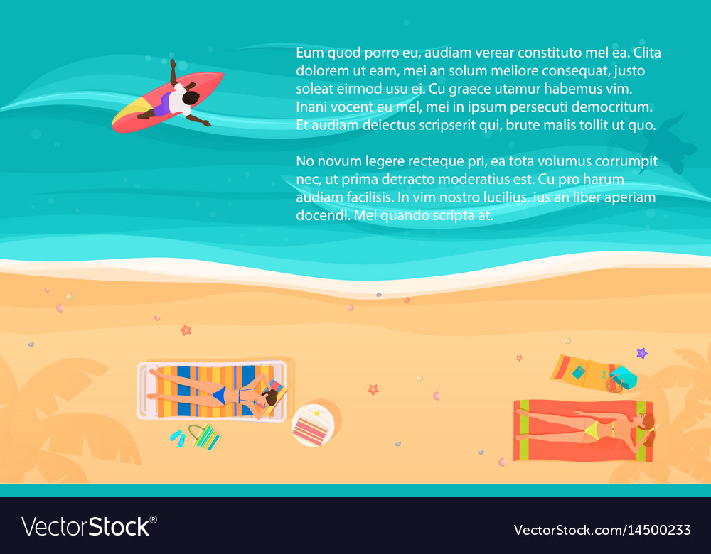 Top view of exotic sea beach with people and