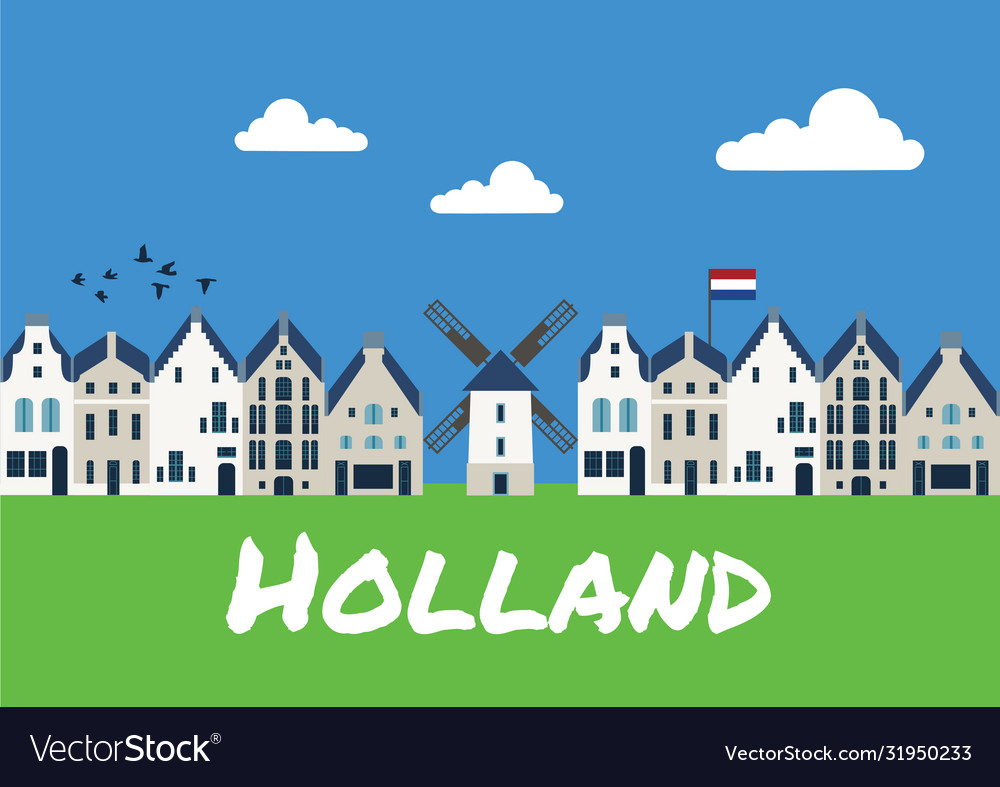 Traditional dutch houses and mills