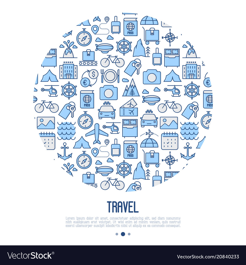 Travel and vacation concept in circle