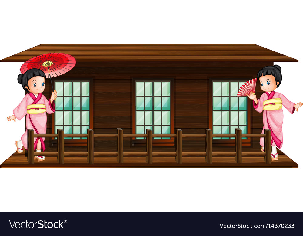 Two japanese girls at wooden hut vector image