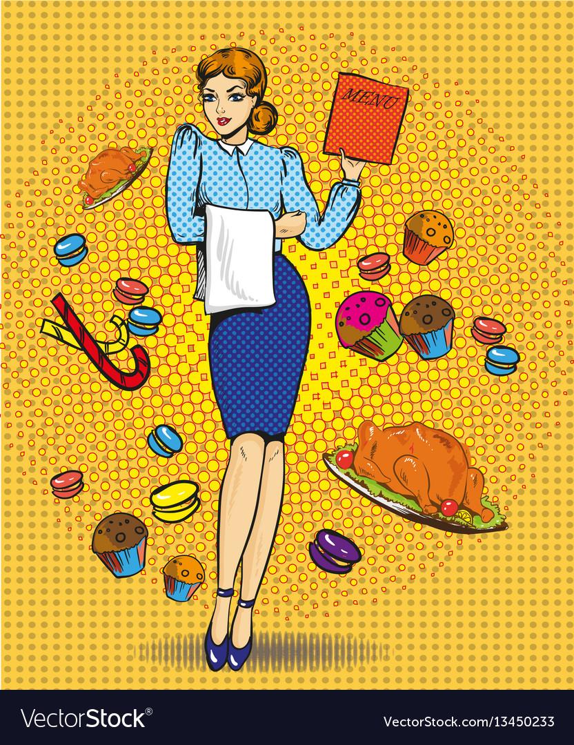 Waitress female retro pop