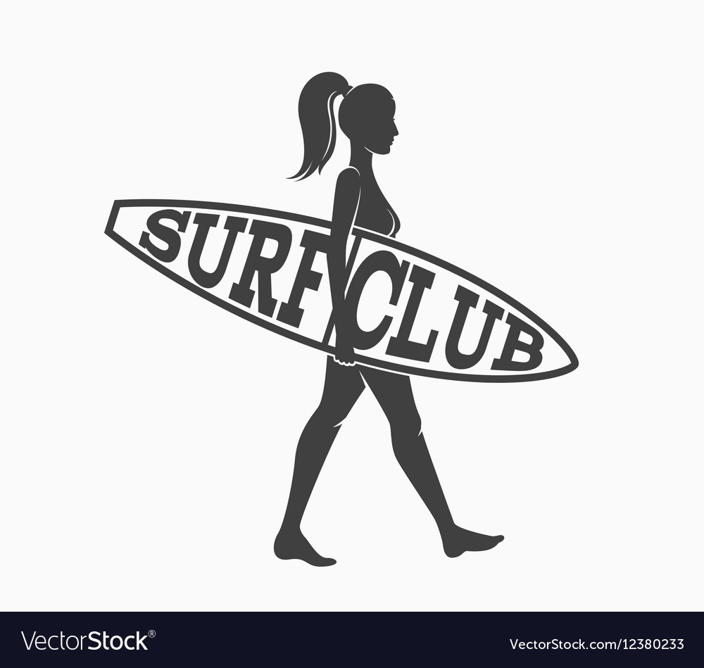 Woman goes surfing with surfboard Surf club logo