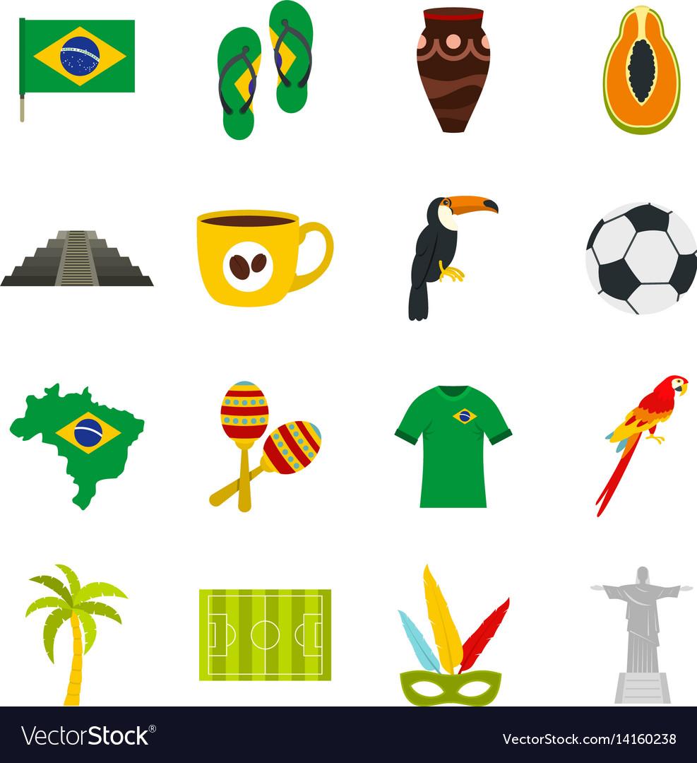 Brazil travel symbols icons set in flat style vector image