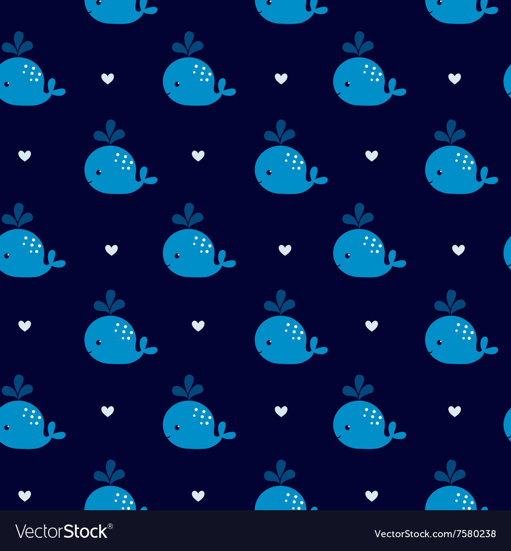 Cute blue whales on a dark background vector image