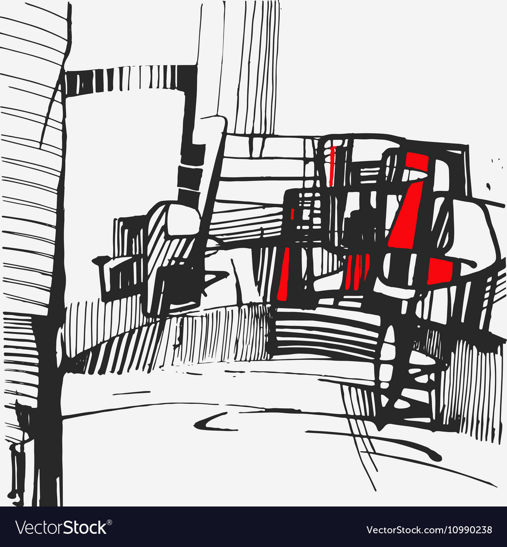 Graphics chaotic lines drawn in ink The vector image