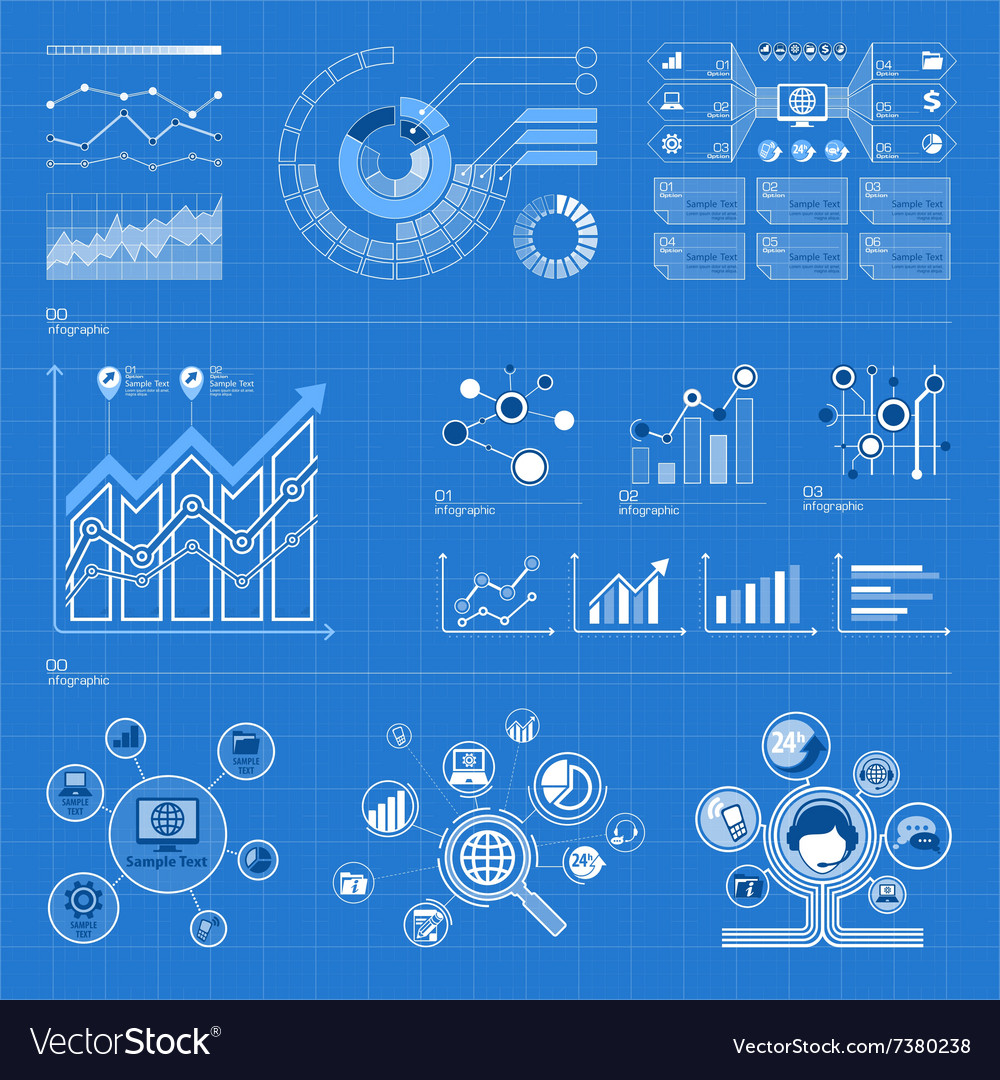 Infographic elements on blue