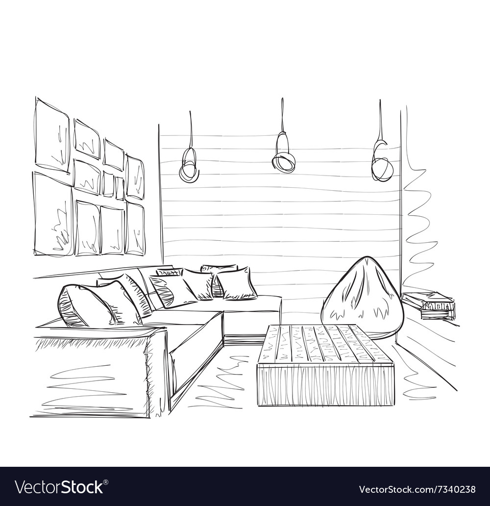modern interior room sketch hand drawn furniture vector imageSketch Of An Interior #20