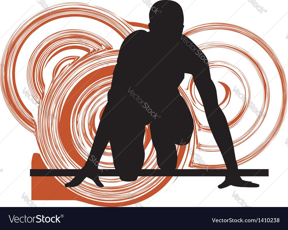 Runner in start position vector image