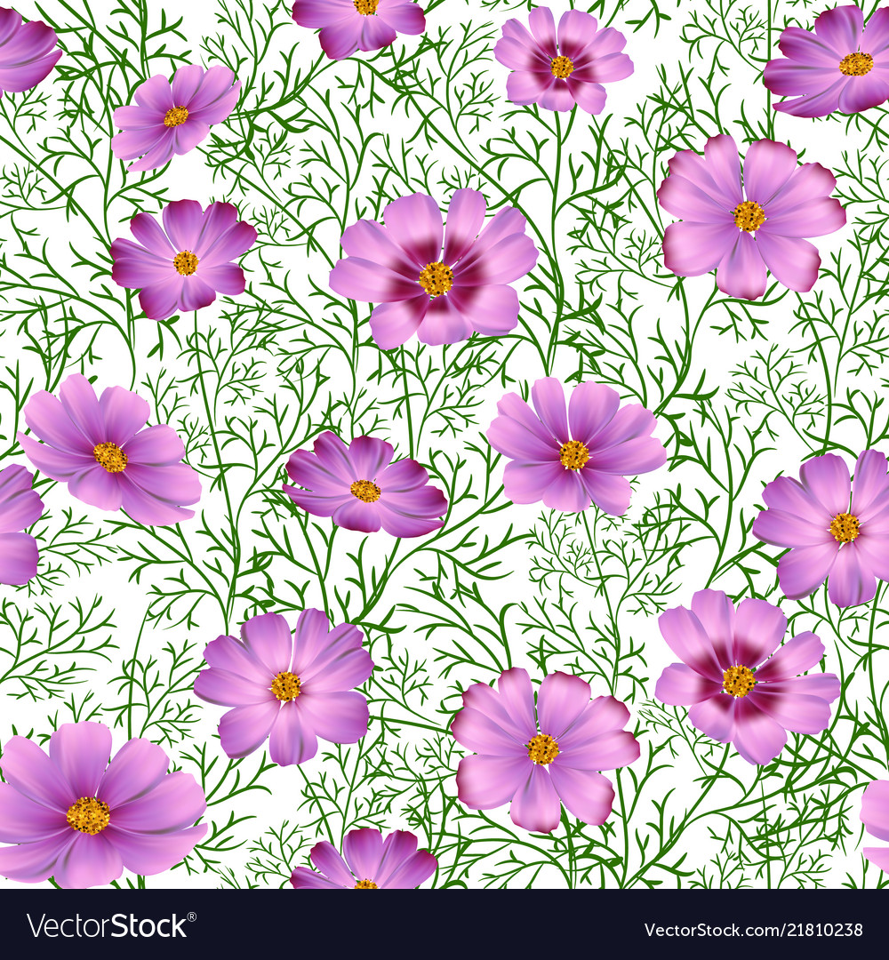 Seamless floral background with beautiful pink