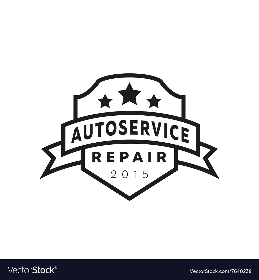 Service auto repair coat of arms shield hammer vector image
