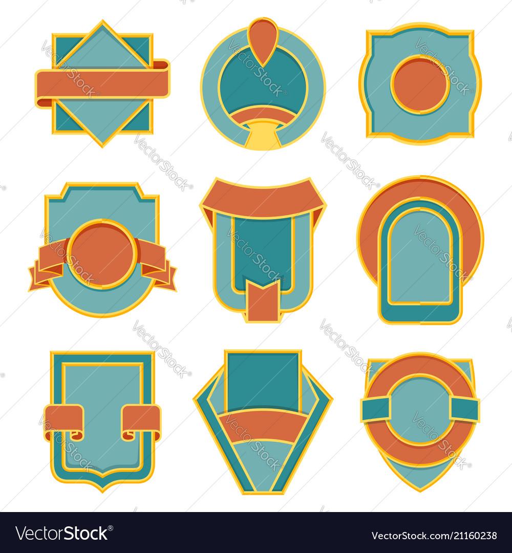 Set retro vintage badges badge flat